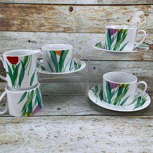Studio Nova FLOURISH Creamer 4 Cups 3 Saucers Set